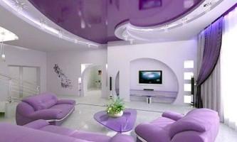 Дизайн натяжних стель в залі