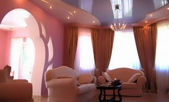 Натяжні стелі для залу - неповторний дизайн своїми руками