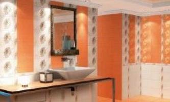 Помаранчева плитка в дизайні ванної кімнати